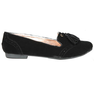 View Item Black Tassel Flat Slipper Shoe